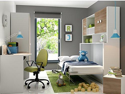Kinderbett Schrankbett Children Foldaway bed inkl.Matratze in der Farbe Weiß / Akazie