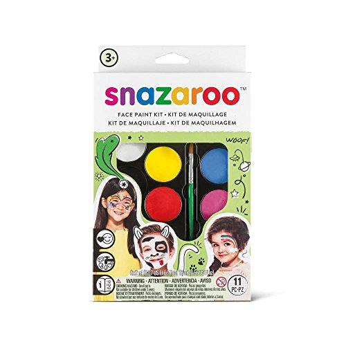 Snazaroo Schminkset für Jungen & Mädchen, Schminkpalette mit Pinsel, Schwämmchen und Anleitung, 8 Farben