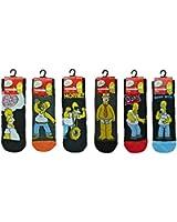 Herren Socken - Verschiedene Simpsons-Designs - Schwarz - 6 Paar
