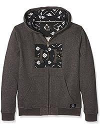 DC Shoes Hook Up - Sudadera con capucha y cremallera para niño, color gris, talla S