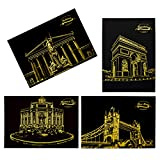 ELENKER Kratzbild gold Sehenswürdigkeiten Bauwerke mit Werkzeugen 4 Stück