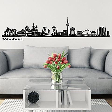Wandkings Skyline Wandaufkleber Wandtattoo - 125 x 30 cm in schwarz - Deine Stadt wählbar - Madrid