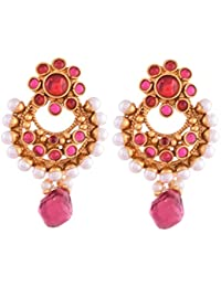 Ganapathy Gems 1 Gram Gold Plated Small Chandbali With Pink Stones And Pearls 2786