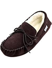 SNUGRUGS Wool Lined Suede Moccasin With Rubber Sole, Chaussons homme