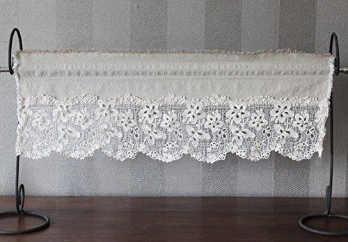 Vorhänge Rustikal Leinen (Bistrogardine Leinen mit Baumwolle Spitze geblumt Shabby Chic Vintage Creme nach Mass (40 x 80 cm))