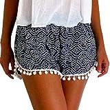 Dasongff Damen Polka Dot Hot Pants High Waist Quaste Shorts Sommer Casual Kurze Hosen Strand Shorts (XL, Schwarz)