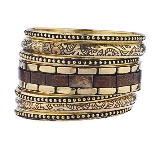 LUX Zubehör goldfarbenes Holz brüniert Aztec Multi Armreif Armband Set