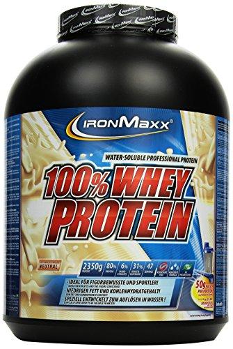 IronMaxx 100% Whey Protein Pulver / Proteinreiches Eiweißpulver für Proteinshake / Wasserlösliches Proteinpulver mit neutralem Geschmack / 1 x 2,35 kg Dose Pre-post-workout-protein