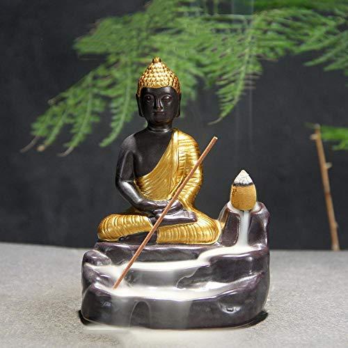 Räucherstäbchenhalter, Buddha-Statue, mit 10 Rückfluss-Räucherkegel, Keramik-Rückflussräucherstäbchenhalter gold