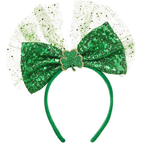 Patrick's Kostüm St Day - dressforfun 302550 - St. Patrick's Day Schleife mit Pailletten, Dreiblättriges, glitzerndes Kleeblatt mit silberner Umrandung