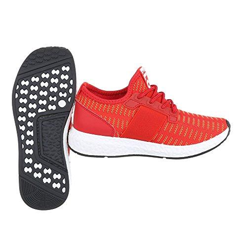 Sportschuhe Damenschuhe Geschlossen Sneakers Schnürsenkel Ital-Design Freizeitschuhe Rot