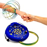Toroidz ® BLUE GOLD w/ Blue Velvet Travel Bag - Amazing Magic Flow Toy - Interactive Museum - 3D ARM RING - Science, Circus , Festival - All Ages Gift