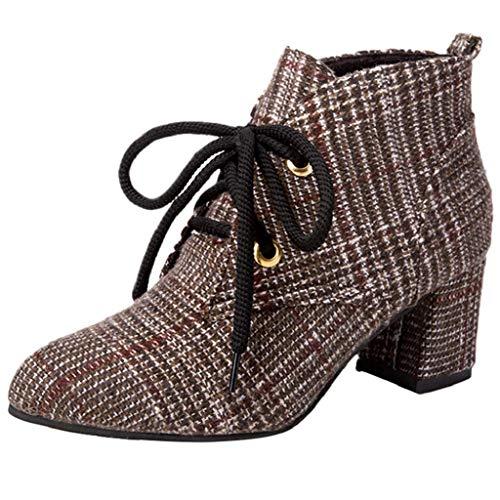 VJGOAL Damen Stiefel, High Heels Schuhe für Damenmode Party Plaid Tuch Lace-Up Frühling Autum spitz Zehe Rutschfeste Dicke Stiefel (Braun, 35 EU)