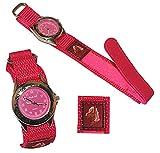alles-meine.de GmbH Kinderuhr -  Pferd  - mit Klettband / Stoff Armband - pink rosa - Uhr Kinder Armbanduhr Tier Tiere Pferde Analog / Pferdeuhr