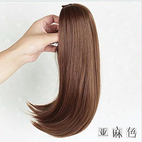 XNWP-Captura breves clips de pelo de caballo hembra peluca, VERDADERO FALSO ponytails en micro-Botón de volumen claw clip,Rubio