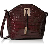 SwankySwansAlex Croc Patent Leather Shoulder Bag Burgundy