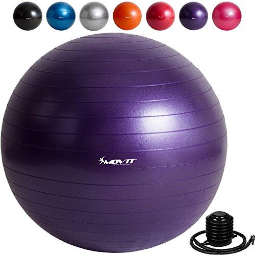MOVIT Gymnastikball »DYNAMIC BALL« inklusive Fußpumpe, 55cm, violett, Maximalbelastbarkeit bis 500kg, berstsicher, Anti Burst Sitzball