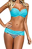 FIYOTE Damen Bikini Set Badeanzug Push Up Striped Badebekleidung Blau XXL