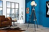 Stehleuchte Schwarz Chrom Holz Metall E27 verstellbar stilecht Retro Lampe Dreibein Wohnzimmer