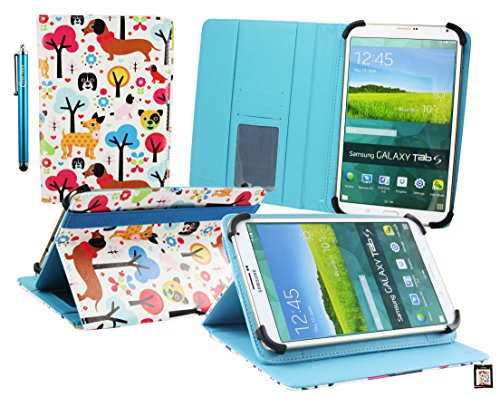 Emartbuy® BigBen Unity Tab 7 Tablet PC 7 Zoll Multifarbig Welpen Multi Angle Exekutiv Folio Mappen Kasten Abdeckung mit Kartensteckplätze + Eingabestift