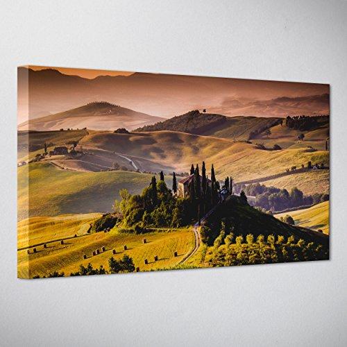 QUADRO PANORAMICO SU TELA CANVAS - INTELAIATO - PRONTO DA APPENDERE - Toscana - Colline del Chianti - 30x70cm - Senza Cornice - (cod.280)