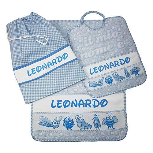 Set asilo personalizzato con nome composto da 3 pezzi:bavaglino spugna con elastico cm.28x33,asciugamano cm.40x55 e sacca con fascia personalizzati cotone 100% made in italy (azzurro)
