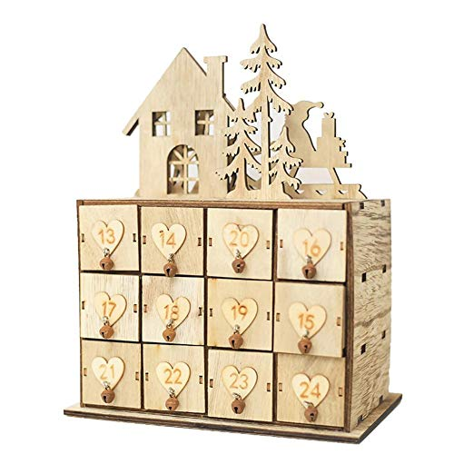 TRULIL Aufbewahrungsbox aus Holz mit 24 Fächern für Kalender, Aufbewahrungsbox, Innovative...