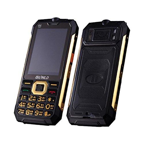HKFV Mobiltelefon Entsperrt TV Handy Inhaber Telefon Englisch Tastatur Dual Sim Outdoor Taschenlampe Handy (Schwarz) (Sim Dual Handy Entsperrt Quad-band)