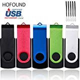 HOFOUND 5Pack 16GB Memory Sticks USB 2.0 Thumb Flash Drives - Data Storage Swivel Cap Design - Metal Black,Red,Blue,Green,Silver