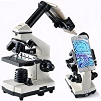 Solomark Compound Microscope 20X-1280X , Professional Monocular Biological Compound Microscope Set, 20X-1280X Large Range Magnification - Coaxial Coarse and Fine Focus Control with Digiscoping Adapter for cellphone and other Accessories