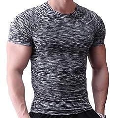 Idea Regalo - Muscle Alive Uomo Magro Stretto Compressione Livello Base Manica Corta Maglietta Bodybuilding Top Poliestere e Spandex