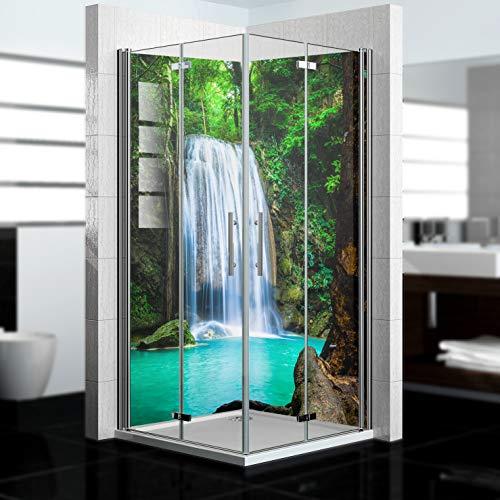 dedeco Alu Eck-Duschrückwand mit Wasserfall Motiv - 2 x 90x200 cm - Perfekt als Badrückwand zum Fliesenersatz, passend für viele Bäder als Dekorwand aus hochwertigem Aluminium