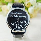 ZOUMOOLMode-Frauen-Leder-Uhr, was auch immer ich bin Spätestens Brief-Uhren ZOUMOOL (A)