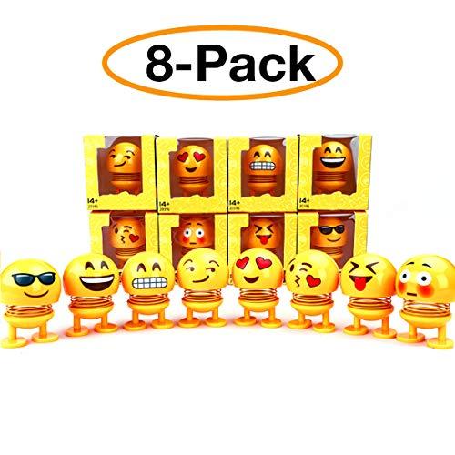 YIJIAOYUN Nette Emoji Kopfschüttelnde Puppen, lustige Smiley Federn Tanzen Spielzeug für Auto Armaturenbrett Ornamente, Party Favors, Geschenke, Hauptdekorationen (8 Stücke)