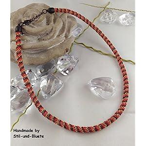 Halskette in schwarz-rot-gold - Unikat
