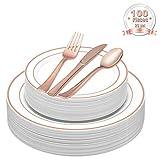 LOMOFI 100 Stück Elegante Premium Plastik Einwegteller - Beinhaltet 20 Speiseteller, 20 Salatteller, 20 Messer, 20 Gabel, 20 Löffel, Service 20 Menschen für Catering, Hochzeiten, Partys - (Rose Gold)