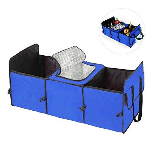 Preisvergleich Produktbild Auto-Boot-Organizer, Faltbarer Auto-Trunk Tidy Aufbewahrungsbox Zusammenklappbare 3 Fächer-Kühltasche von AumoToo (Blau)