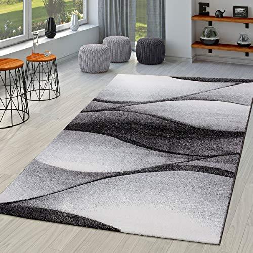 T&T Design Alfombra De Salón Moderna con Diseño De Ondas Abstractas Contorneada En Gris Antracita...