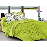 Ahmedabad Cotton 144 TC Cotton King Bedsheet with 2 Pillow Covers - Beige and Green