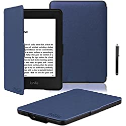 "ProElite Ultra Slim Flip Case Cover for Amazon Kindle E Reader 6"" 8th Generation 2016 Launch (Dark Blue, Auto Sleep Wake with magnetic lock) with Stylus Pen [will NOT FIT Paperwhite]"