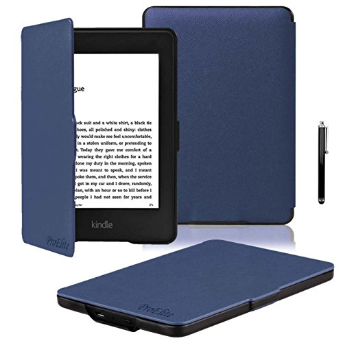 ProElite Ultra Slim Flip Case Cover for Amazon Kindle E Reader 6' 8th Generation 2016 Launch (Dark Blue, Auto Sleep Wake with magnetic lock) with Stylus Pen [will NOT FIT Paperwhite]