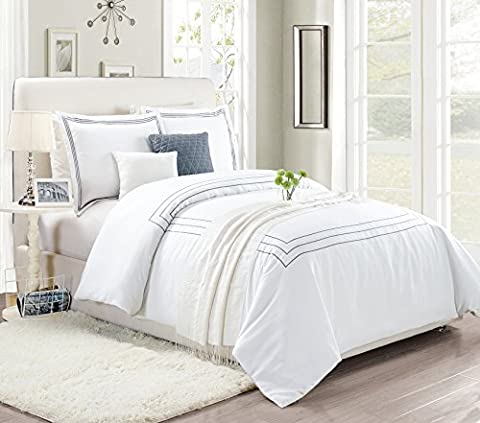 Super soft Embroidered Line Elegant Duvet Cover 230 cm x 220 cm Duvet Set Bedding Set + 2 Pillow Case White King Size (King, Embriodered-Gray