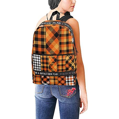 Nette schultaschen für jugendlich mädchen Halloween Tartan büffel Check Plaid Vektor College Girl Taschen Daypack reisetaschen kausalen College School rucksäcke für Frauen männer Student (Check Nylon-einkaufstasche)