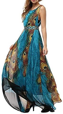 Sawadikaa Imprimé Mousseline de Soie Longue Robe Maxi Bohémien Vacances Robe de fête Femme Bleu 40