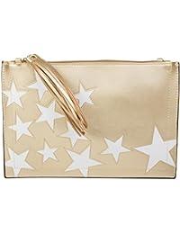 74ce77cc4 styleBREAKER bolso de mano clutch con motivo de estrellas, borlas colgantes en  la cremallera,