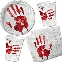 """Set di 40pezzi per Halloween """"mano insanguinata"""" Con piatti di carta + tovaglioli + bicchieri di carta//Stoviglie usa e getta, per bambini, per compleanno, feste a tema horror"""