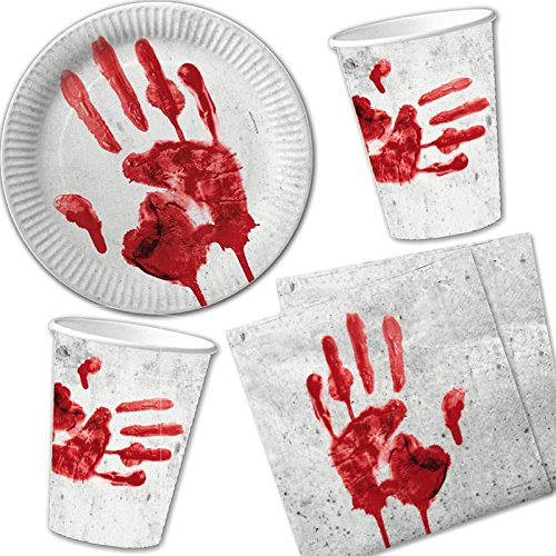 Preisvergleich Produktbild 40-teiliges Halloween-Set * BLUTIGE HAND * mit Pappteller + Servietten + Pappbecher + Deko // Teller Becher Essen Pappe Geschirr Party Dekoration Mottoparty Horror