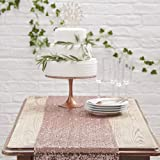 2,65 x 30 cm Runner Tovaglia Rosa Antico Cipria Pailettes Matrimonio Tessuto Tovagliato Festa Allestimento 2,5 EmozionarSi