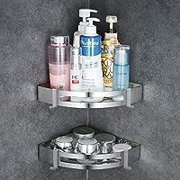 GERUIKE Bathroom Shower Shelf Self Adhesive Corner Shower Caddy Stainless Steel Bath Shower Room Accessories Shelf No Drilling Silver 2 Tires Triangle
