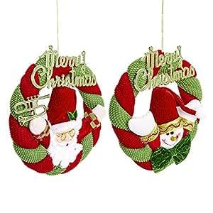 2 st ck weihnachtskranz f r t r adventskranz h ngend. Black Bedroom Furniture Sets. Home Design Ideas